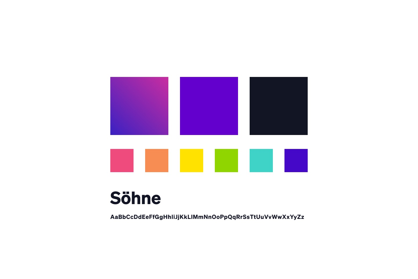 An image of a color palette and font that are examples of components of a brand style guide.